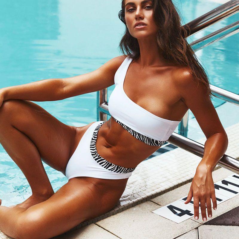 new bikini split zebra pattern onepiece swimsuit solid color bikini wholesale nihaojewelry NHHL224055