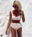 nouvelle mode simple split maillot de bain sexy bretelles taille haute plage bikini en gros nihaojewelry NHHL224060