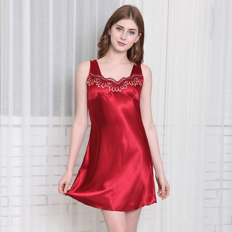 t soie sexy chemise de nuit dames t dentelle sans manches lche grande taille pyjama en gros nihaojewelry NHJO224090