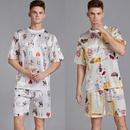 nouveau pyjama pour hommes  manches courtes en soie mince hommes dt col rond service  domicile lche costume de grande taille en gros nihaojewelry NHJO224119
