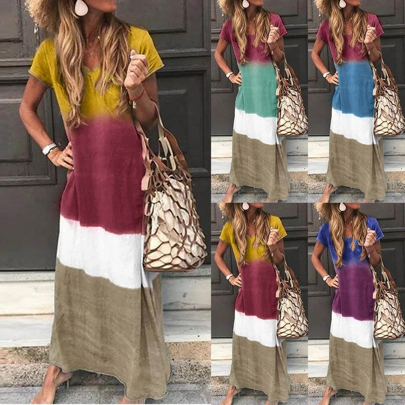 hot selling fashion  new mark hanging dyed V-neck simple loose casual dress wholesale nihaojewelry NHYF224225