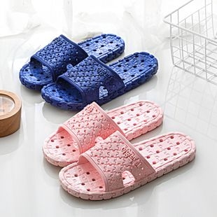 Household slippers men summer four seasons bath non-slip thick bottom wear-resistant indoor leak hole slippers fashion bathroom sandals NHATX224238's discount tags