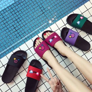 Home slippers summer tory non-slip outer wear indoor home couple Korean bath bathroom slippers wholesale nihaojewelry NHATX224255's discount tags