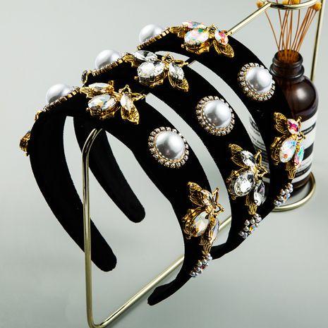 hot selling gold velvet bee flower pearl hair hoop simple wild wide-border rhinestone luxury out headband wholesale nihaojewelry NHLN224276's discount tags