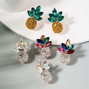 Korean fashion trendy fresh wild ladies earrings alloy inlaid color rhinestone pineapple earrings wholesale nihaojewelry NHLN224284's discount tags