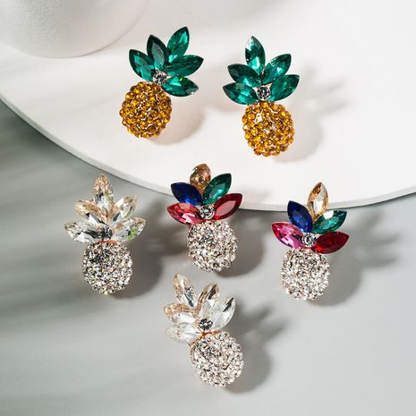 Korean fashion trendy fresh wild ladies earrings alloy inlaid color rhinestone pineapple earrings wholesale nihaojewelry NHLN224284's discount tags
