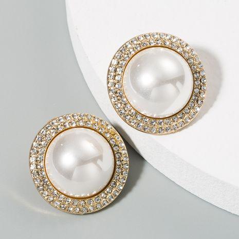 Corée de haute qualité perles boucles d'oreilles rondes alliage diamant boucles d'oreilles dames simple tempérament sauvage boucles d'oreilles en gros nihaojewelry NHLN224289's discount tags