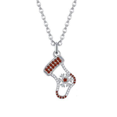 Nouvelle mode zircon mignon collier pendentif chaussette de Noël's discount tags