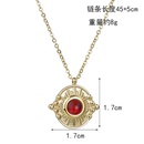 Korea   hot sale 14K gold simple boutique ruby relief necklace round pendant wholesale nihaojewelry NHHF224313