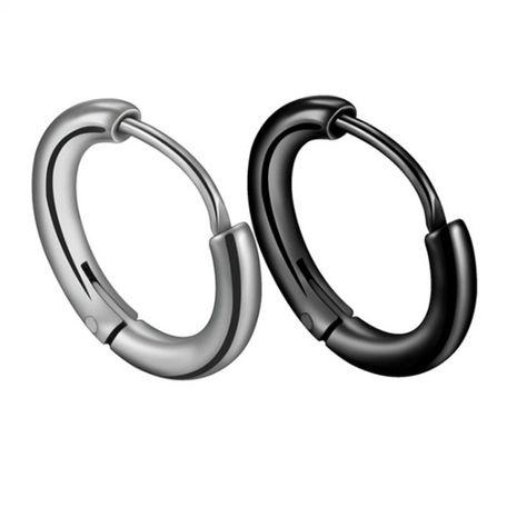 Korean trend personality dark girl glossy circle earrings stainless steel high-grade cold wind side ear bone earrings wholesale nihaojewelry NHHF224321's discount tags