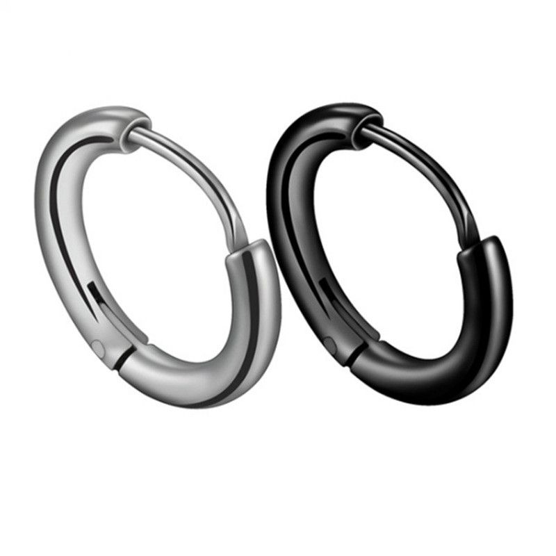 Korean trend personality dark girl glossy circle earrings stainless steel high-grade cold wind side ear bone earrings wholesale nihaojewelry NHHF224321