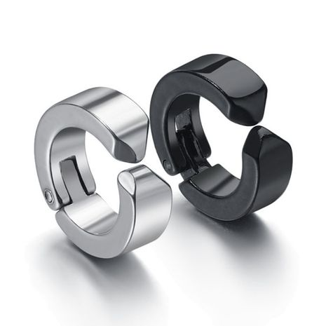 new simple personality glossy black earrings stainless steel without pierced tide male tide ear clip wholesale nihaojewelry NHHF224322's discount tags