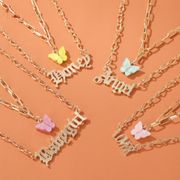 Double Acrylic Butterfly Necklace Fashion Alphabet Angel Pendant Baby girl English Alphabet Necklace wholesale nihaojewelry NHDP224329