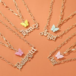Double Acrylic Butterfly Necklace Fashion Alphabet Angel Pendant Baby girl English Alphabet Necklace wholesale nihaojewelry NHDP224329's discount tags