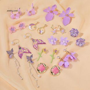 S925 Silver Needle Earrings Summer New Purple Simple Flower Earrings wholesale nihaojewelry NHDP224340's discount tags