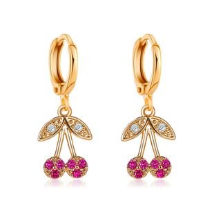 New sweet cherry earrings exquisite super fairy diamond fruit ear buckle Korean cute girl earrings wholesale nihaojewelry NHDP224346's discount tags