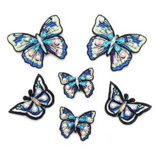 Handmade blue butterfly cloth stickers embroidery cloth stickers hand-sewn clothing accessories nail beads DIY clothes patch stickers NHNK224347's discount tags