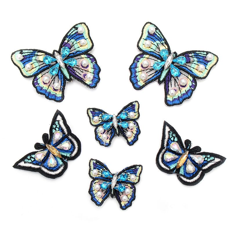 Handmade blue butterfly cloth stickers embroidery cloth stickers handsewn clothing accessories nail beads DIY clothes patch stickers NHNK224347