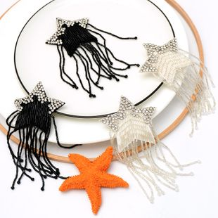 Handmade beaded black and white tassel five star corner clothing bag shoes decoration accessories DIY handmade patch stickers NHNK224350's discount tags