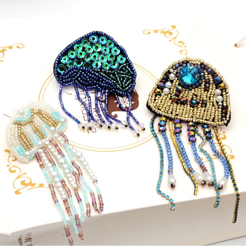 Handmade beaded rhinestone pearl tassel jellyfish cloth stickers clothing accessories bag diy subsidy hand sewing NHNK224351