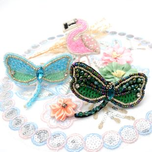 Handmade beaded flamingo dragonfly cloth patch stickers clothing accessories DIY flowers and birds clothes bag decoration NHNK224352's discount tags