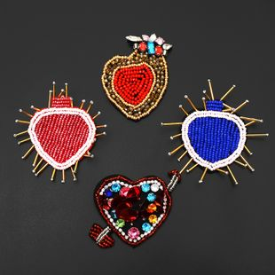 Handmade high-end nail bead big heart heart-shaped cloth stickers accessories corsage jewelry DIY applique badge NHNK224354's discount tags