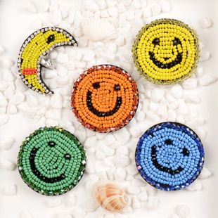 Handmade beaded rhinestone smiley face series cloth stickers clothing accessories clothes bags shoes patches DIY hair accessories NHNK224356's discount tags
