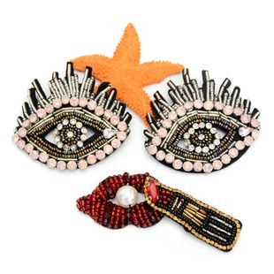 Handmade beaded eyes Jiemao lips lipstick cloth stickers clothing accessories DIY clothes bag decoration NHNK224359's discount tags