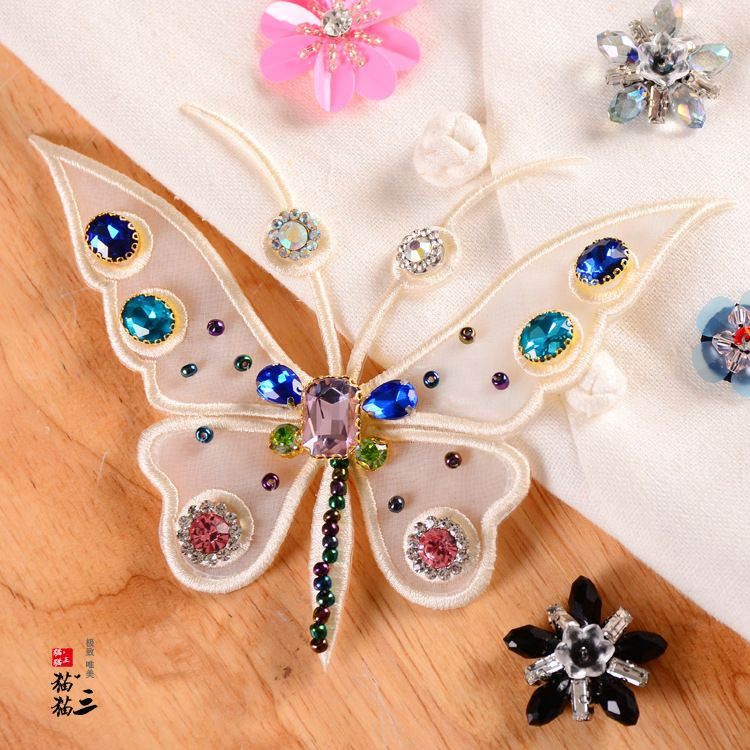 organza yarn handmade nail rhinestone butterfly cloth stickers clothes patch stickers handmade DIY clothing accessories NHNK224360