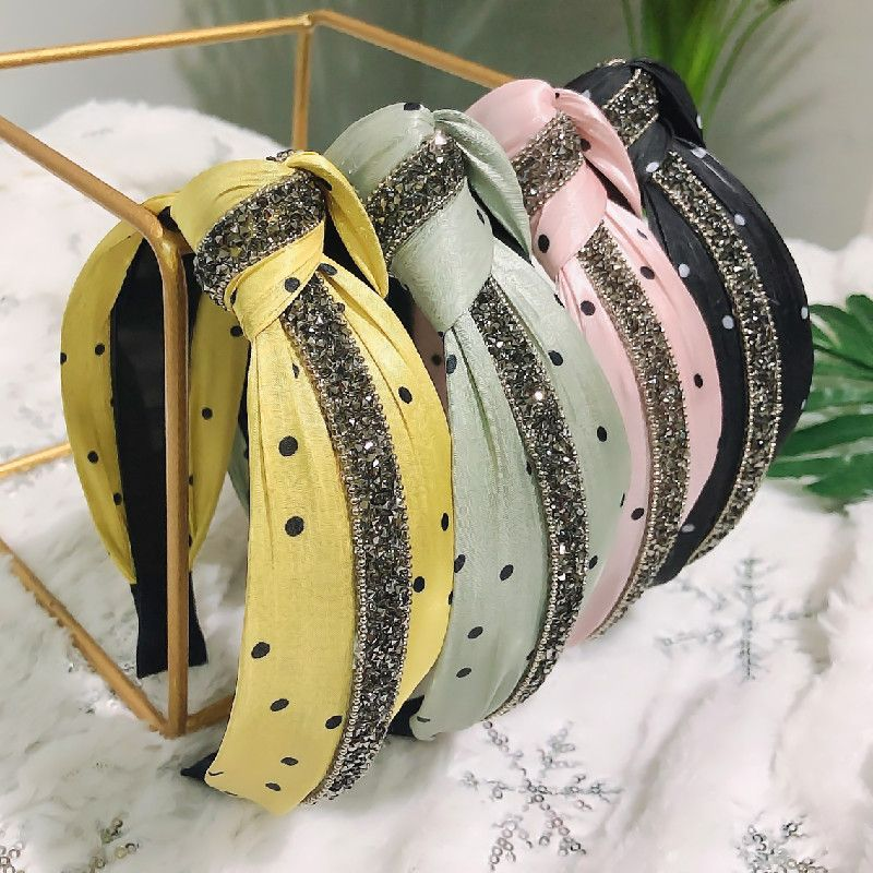 Korean wave lights up rhinestone fabric hair accessories  knotted non-slip headband candy color hairband wholesale nihaojewelry NHRH224384