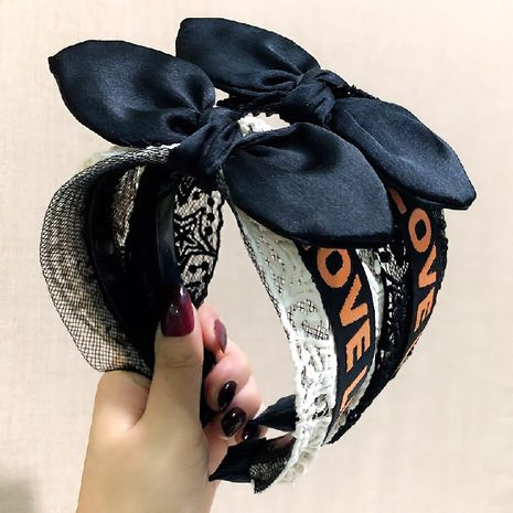 Korean white lace letters with rabbit ear headband black bowknot wide-sided non-slip headband tide hairband wholesale nihaojewelry NHRH224394's discount tags