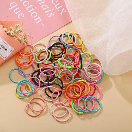 100 pequeño color de caramelo anillo para el cabello del dedo de los niños color sólido alta elasticidad banda de goma para niña cuerda de pelo coreano al por mayor nihaojewelry NHPJ224428's discount tags