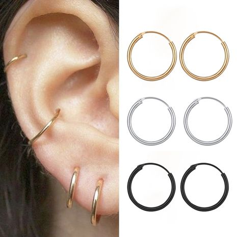mode simple rond métal petites boucles d'oreilles créative punk personnalité hip-hop anneau d'oreille en gros nihaojewelry NHPJ224430's discount tags