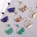 geometric round natural stone handmade rice bead earrings simple woven resin earrings jewelry wholesale nihaojewelry NHLA224433