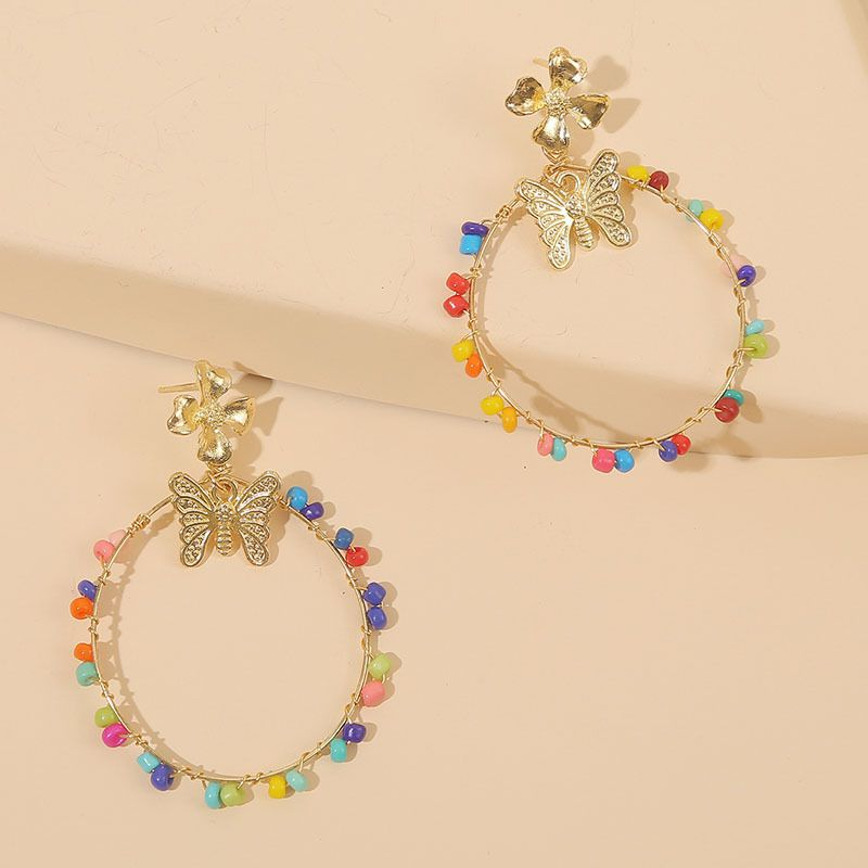 color hand-woven rice beads butterfly earrings personality geometric resin beaded earrings jewelry wholesale nihaojewelry NHLA224434
