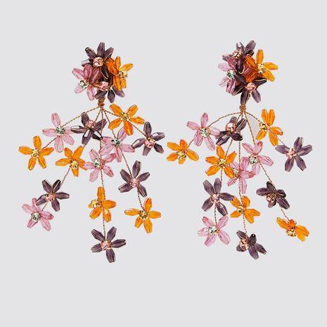 exaggerated geometric woven acrylic flower earrings personality long resin earrings jewelry wholesale nihaojewelry NHLA224437's discount tags