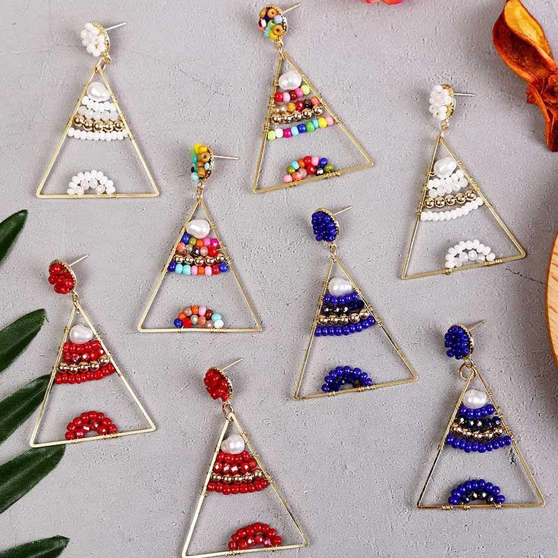 Geometric triangle hand-woven colorful rice bead earrings trend resin beaded earrings jewelry wholesale nihaojewelry NHLA224438