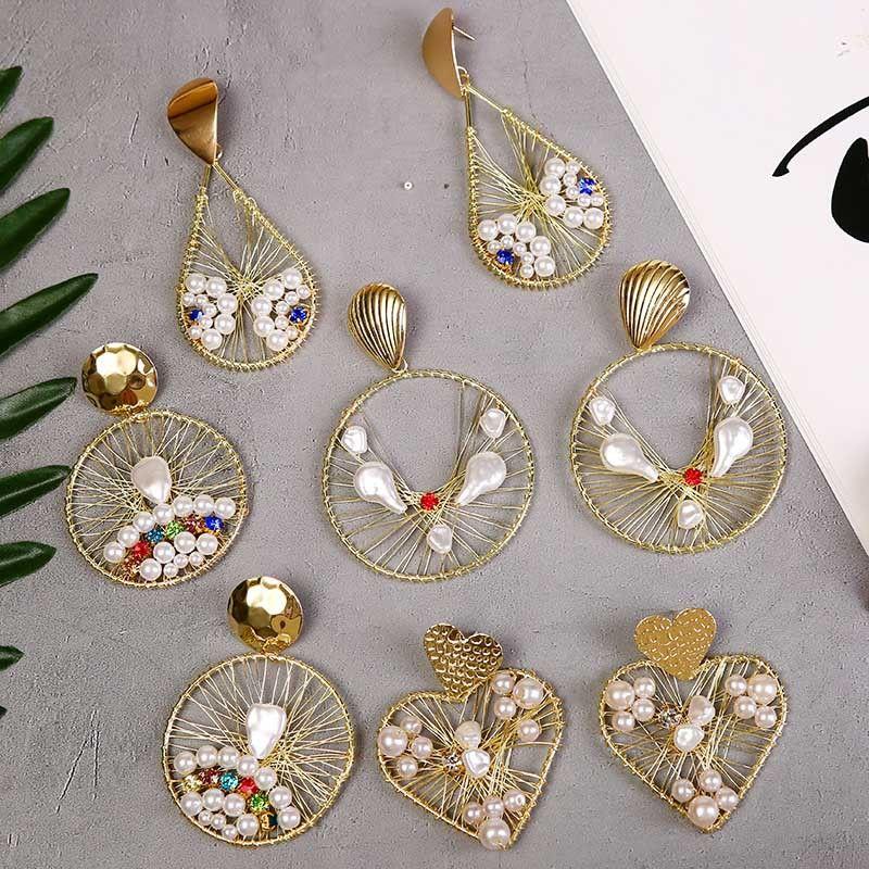 fashion exaggerated geometric water drop love handmade pearl earrings new trend round big earring jewelry wholesale nihaojewelry NHLA224439