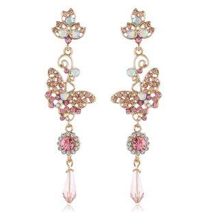 Korean fashion long alloy diamond wild flower earrings sweet butterfly earrings temperament earrings wholesale nihaojewelry NHVA224454's discount tags
