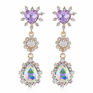 fashion alloy flower earrings fashion new rhinestone earrings wholesale nihaojewelry NHVA224455's discount tags