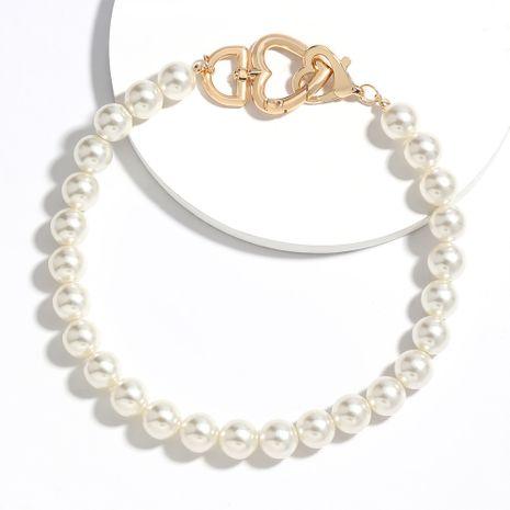 personalidad simple amor en forma de corazón aleación collar de perlas de imitación marea collar de temperamento japonés y coreano al por mayor nihaojewelry NHJE224495's discount tags