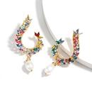 Fashion colored diamond series hook alloy diamond rhinestone imitation pearl earrings full diamond earrings super fairy earrings wholesale nihaojewelry NHJE224496