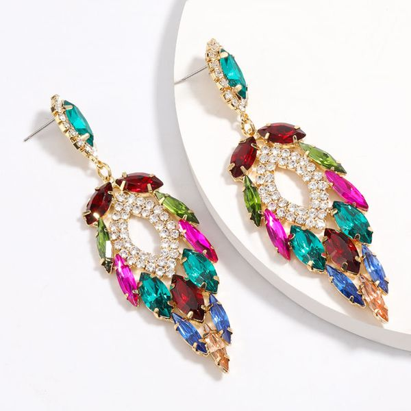 Fashion color diamond series temperament exaggerated multi-layer rhinestone diamond earrings trend design sense super flash earrings wholesale nihaojewelry NHJE224500