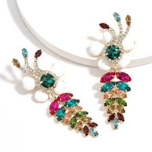 Fashion colored diamond series rhinestones diamonds leaves dripping flowers temperament earrings elegant earrings wholesale nihaojewelry NHJE224503's discount tags