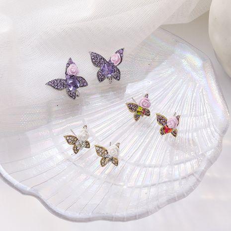 Palace vent Baroque strass fleurs papillon boucles d'oreilles oreille clip os violet rose cristal boucles d'oreilles en gros nihaojewelry NHMS224530's discount tags
