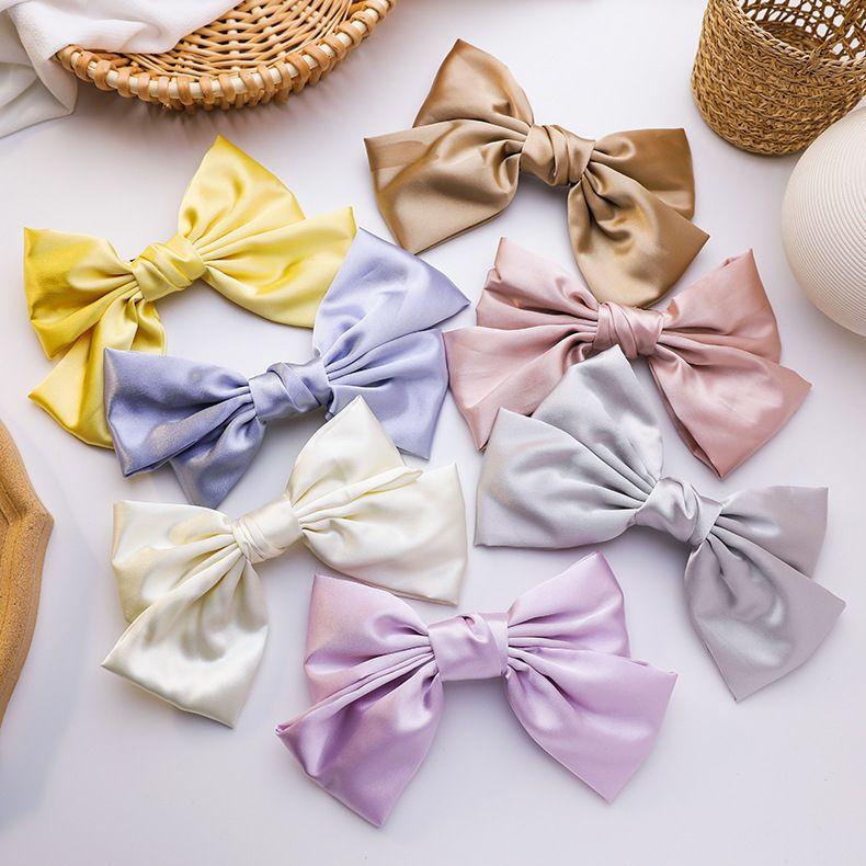 hairpin headdress large milk white bow hair clip satin back head clip Korean fashion hair accessories wholesale nihaojewelry NHMS224532