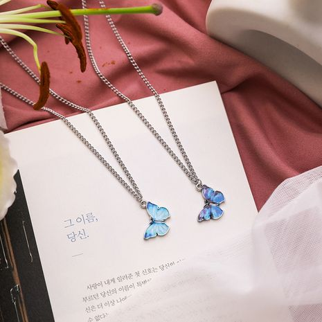 Blue butterfly necklace tide personality simple hip-hop pendant girlfriends couple clavicle chain wholesale nihaojewelry NHMS224535's discount tags