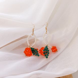 Crystal woven cherry earrings new spring and summer orange Japanese cute fruit girl ear hooks wholesale nihaojewelry NHMS224549's discount tags