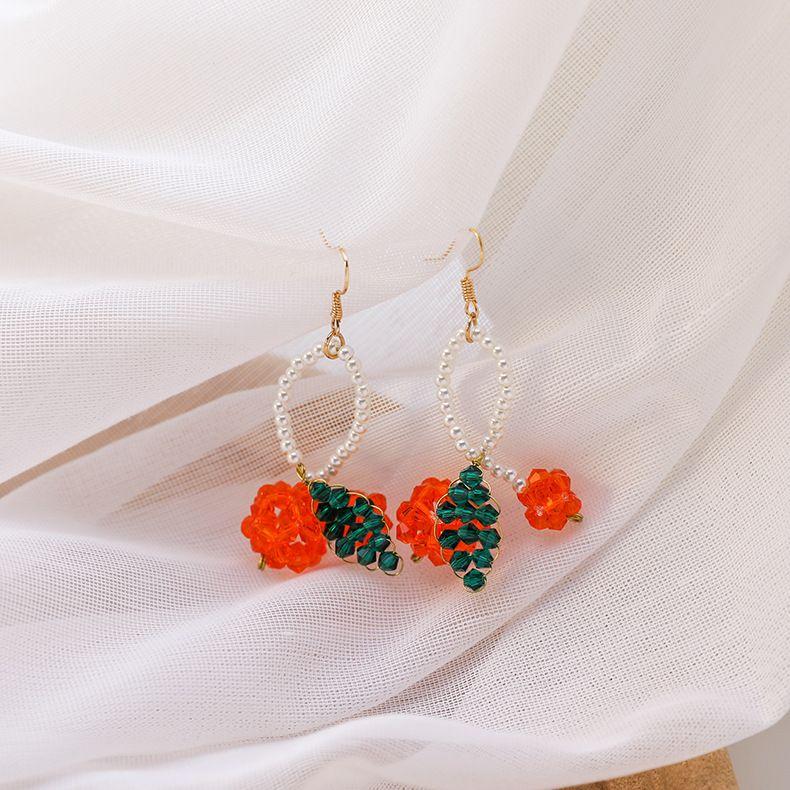 Crystal woven cherry earrings new spring and summer orange Japanese cute fruit girl ear hooks wholesale nihaojewelry NHMS224549