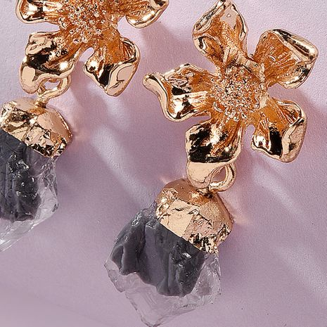 new trend jewelry fashion flower alloy head earrings creative translucent resin earrings wholesale nihaojewelry NHMD224565's discount tags